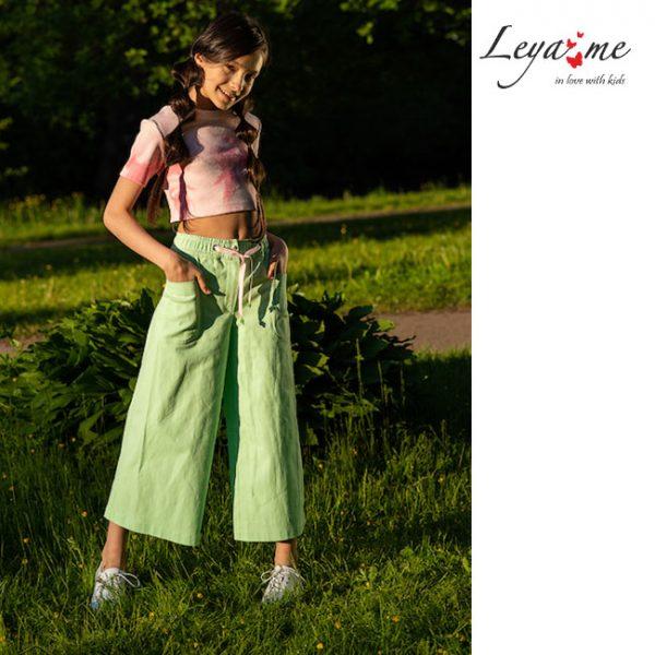 Летние нежно зеленые детские джинсы-кюлоты для девочки
