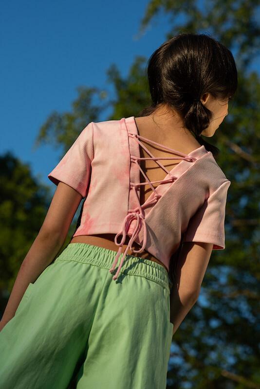 """Летний розовый детский топ для девочки с принтом тай дай """"в рубчик"""""""