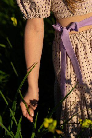Летний бежевый детский топ для девочки, из шитья с рукавами-фонариками