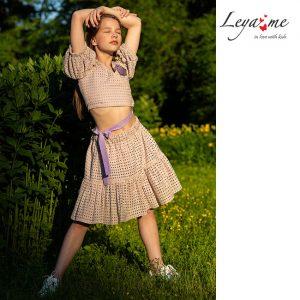 Бежевая детская юбка для девочки, из хлопкового шитья, с воланами