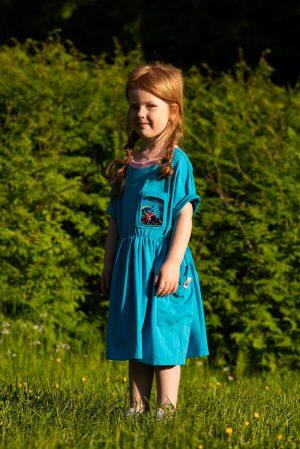 Бирюзовое детское платье-туника для девочки, с прозрачным карманом