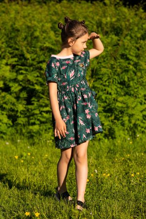 """Детское платье-туника для девочки, с тропическим принтом и аппликацией """"Глаз динозавра"""""""