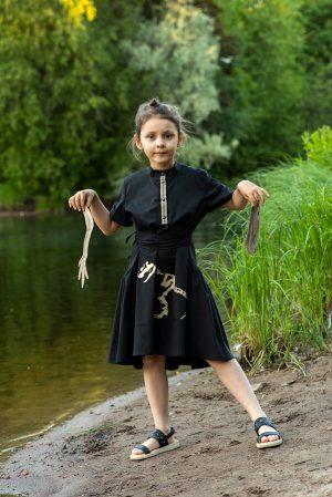 """Черное детское платье-рубашка для девочки, из хлопка с принтом """"Скелет динозавра"""""""