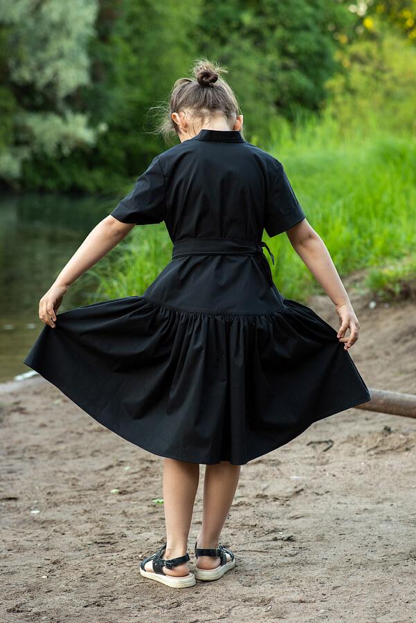 Черное детское платье-рубашка для девочки