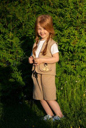 Бежевые детские шорты для девочки, из хлопкового футера