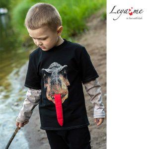 """Детский свитшот для мальчика с двойным рукавом и принтом """"Голова динозавра"""""""