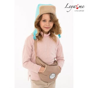 Бирюзовая детская шапка-ушанка на меховой подкладке