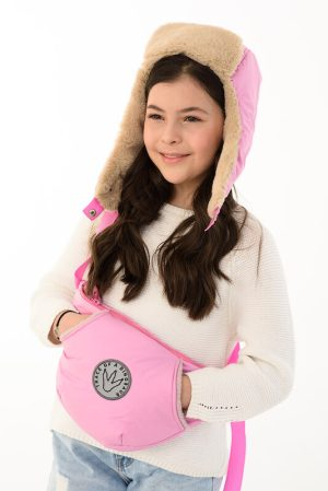 Розовая детская шапка-ушанка на меховой подкладке