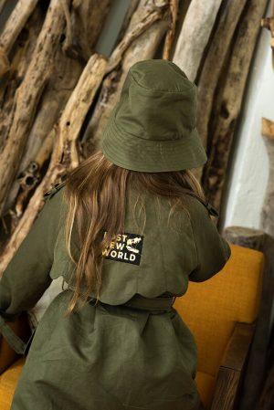 Детская панама из хлопка цвета хаки для девочки