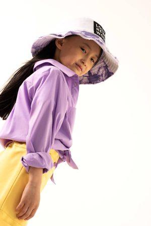 Сиреневая детская панама из хлопка для девочки, с принтом тай дай