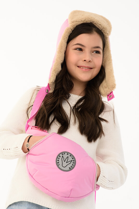 Детская поясная сумка-муфта розовая