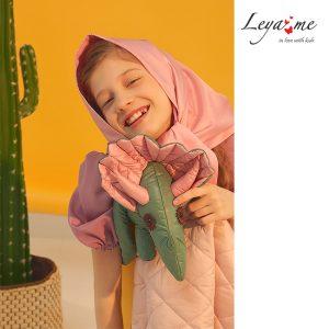 Весенняя розовая детская косынка из плащевки