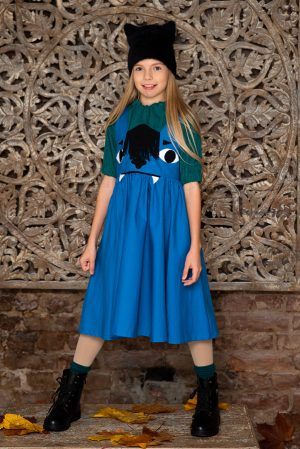 "Голубой сарафан с карманами на девочку ""Рейки"""