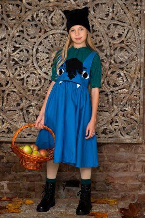 Бирюзовая блузка трикотажная с резинками для девочки