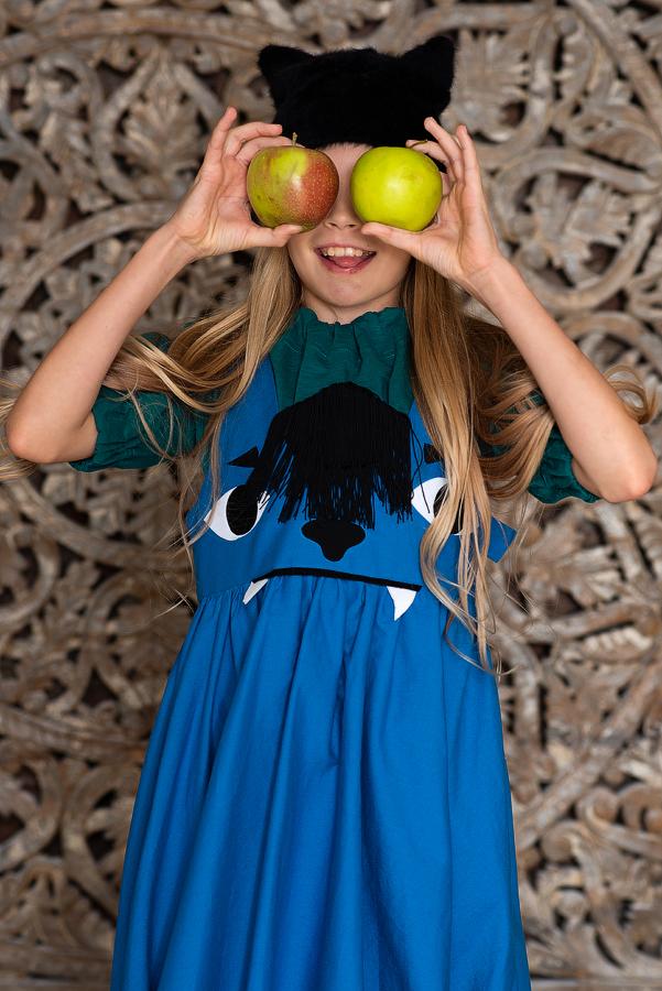 Бирюзовая блузка трикотажная с резинками для девочки 2020 1
