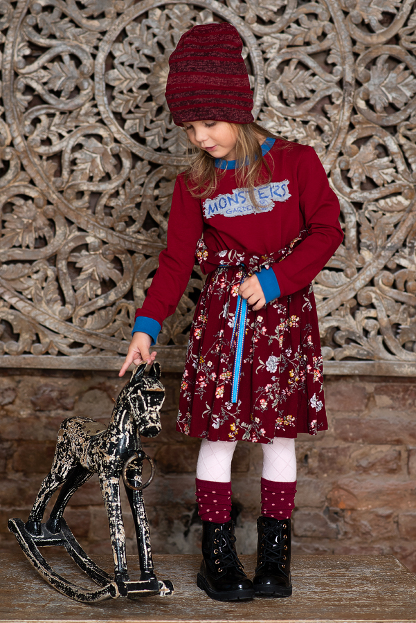 """Бордовое детское платье с цветочным принтом комбинированное  """"Monsters garden"""""""