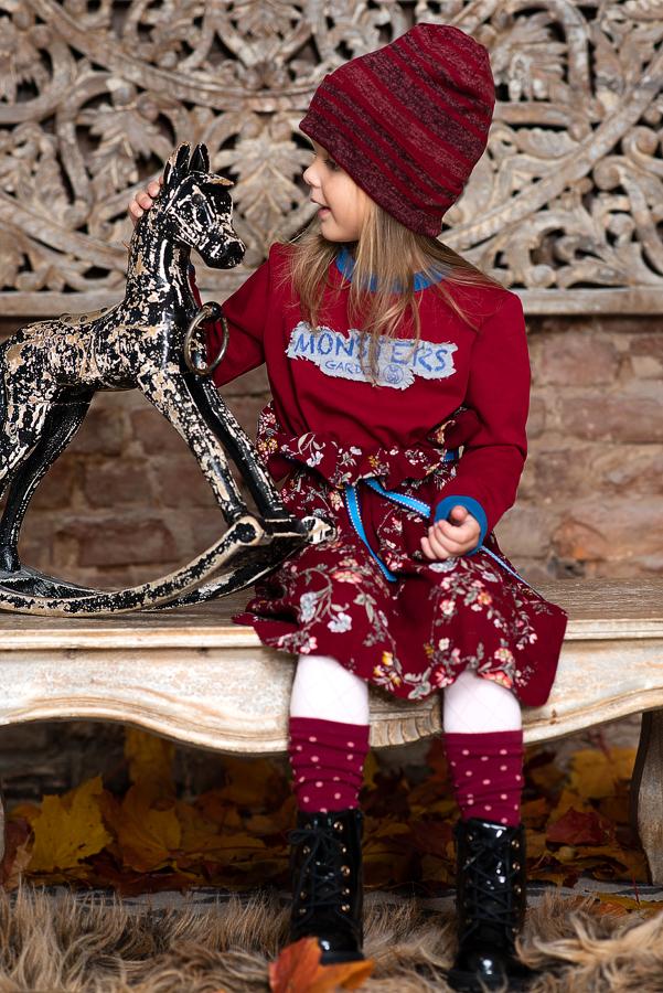 """Бордовое детское платье с цветочным принтом комбинированное  """"Monsters garden"""" 2020 1"""