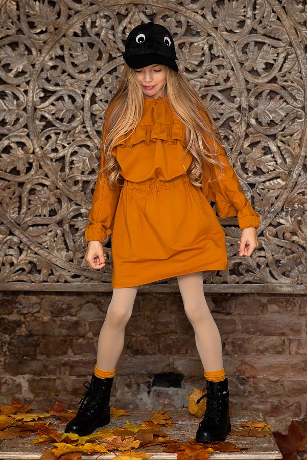 Детское платье-туника горчичное с воланом
