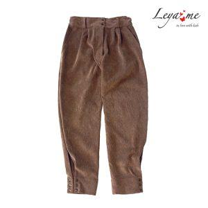 Вельветовые брюки на девочку бежевые с кнопками