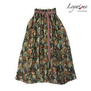 Детская юбка в стиле бохо с цветочным принтом и плетеным поясом