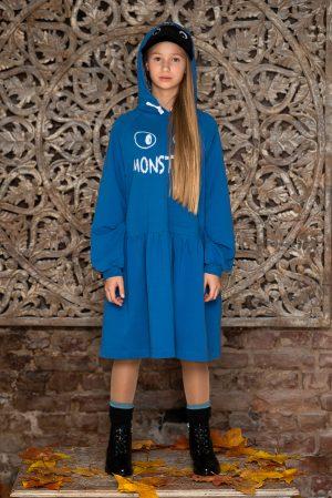 """Синее платье-толстовка для девочки с принтом """"Monsters"""" и капюшоном"""
