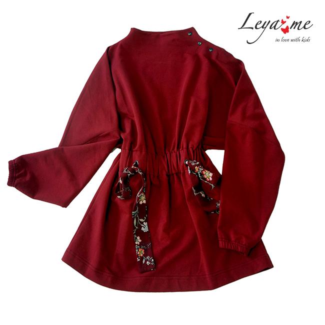 Детское платье-туника бордовое с цветочной кулиской на талии