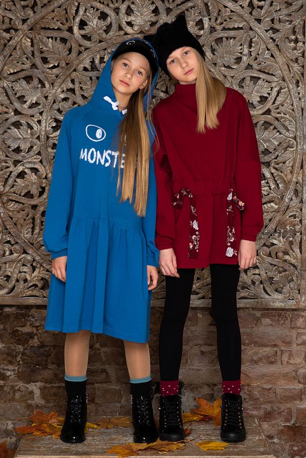 Детское платье-туника бордовое с цветочной кулиской на талии 2021 1