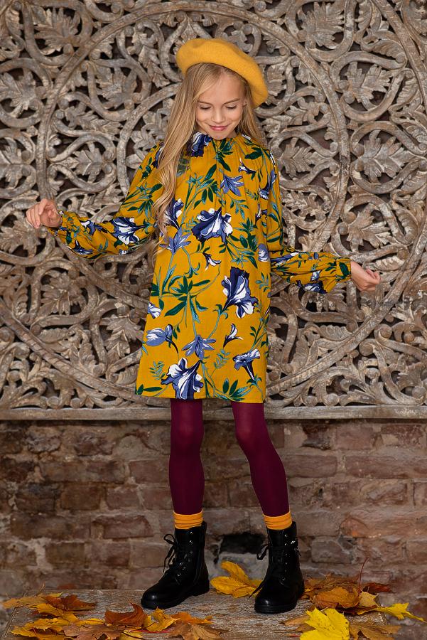 Желтое детское платье с цветочным принтом 2021 1