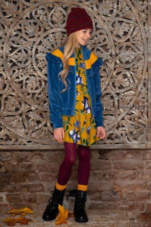 Бомбер для девочки синий с воланом и контрастной вставкой