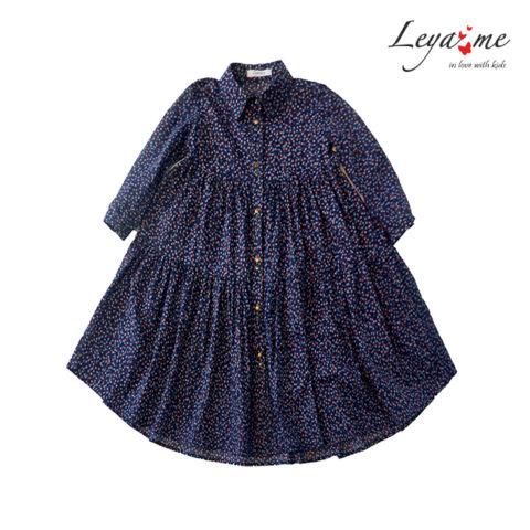 Платье-рубашка для девочки темно-синее с цветочным принтом