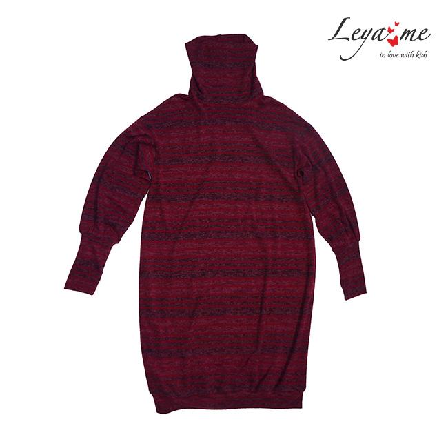 Детское бордовое платье-туника с закрытым горлом