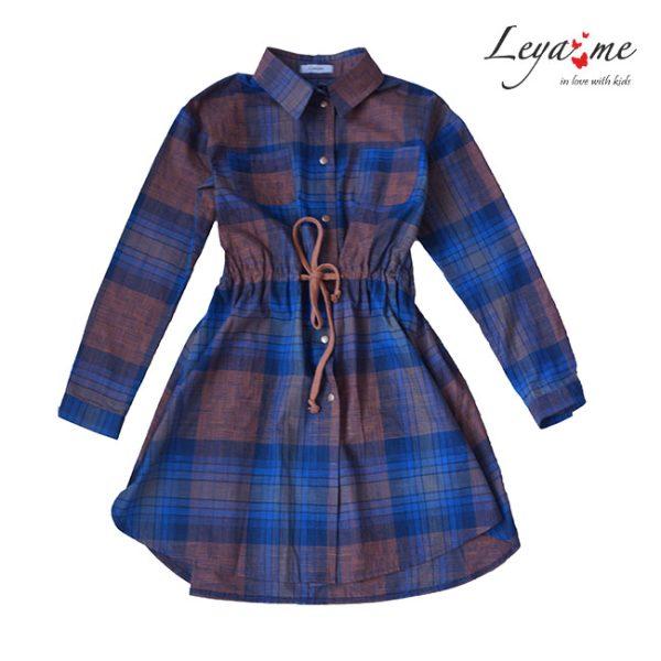 Платье-рубашка в клетку для девочки синее