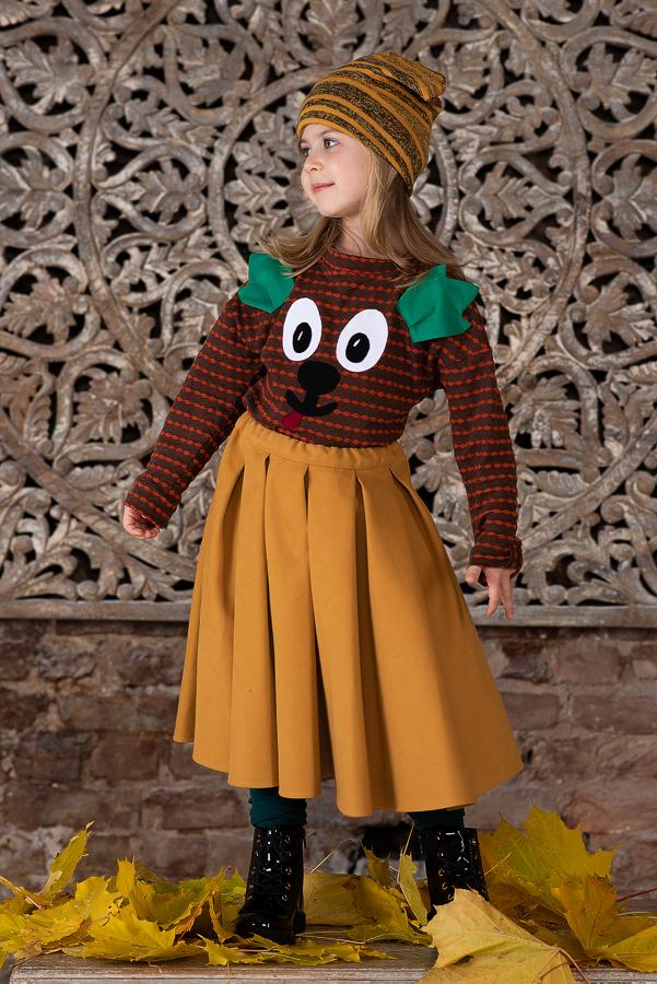 Пышная детская юбка желтая со складками 2021 1