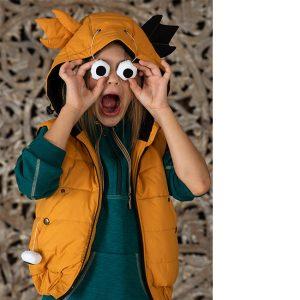 Желтый детский жилет с капюшоном