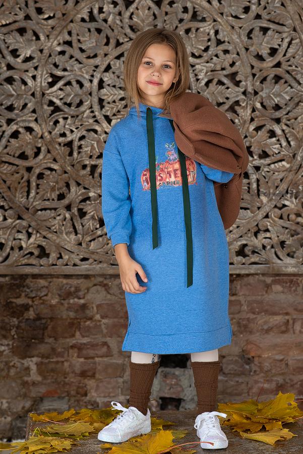Платье-толстовка детское с капюшоном  голубое с принтом