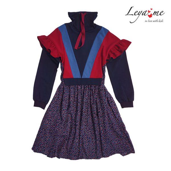 Платье-туника для девочки синее со спортивными элементами и цветочным принтом