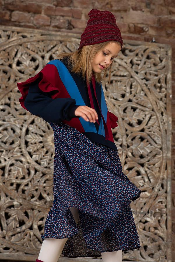 Платье-туника для девочки синее со спортивными элементами и цветочным принтом 2020 1
