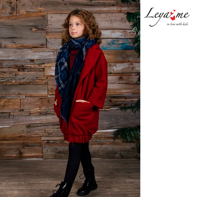 Красное детское пальто Тедди из искуственного меха для девочки