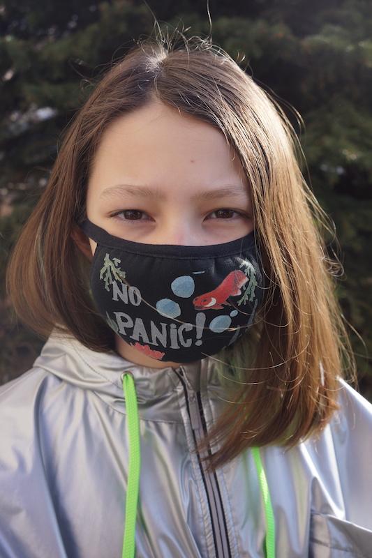 """Маска пылезащитная с принтом  """"No Panic"""""""