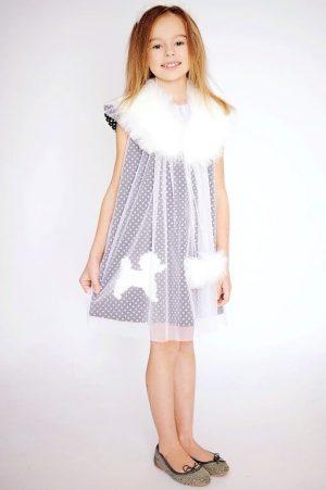 Нарядное детское платье-трапеция детская с пуделем для девочки