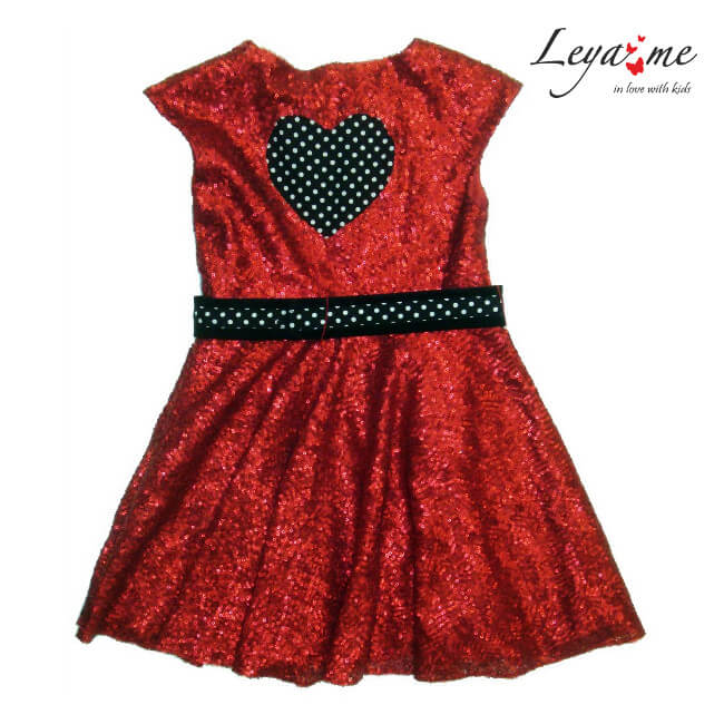 Платье красное детское с пайетками и сердцем 2020 1