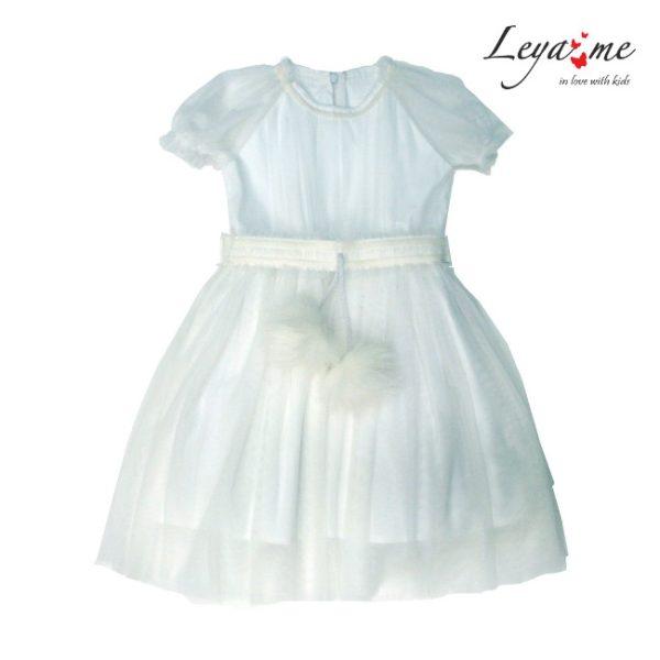 Белое нарядное детское платье-снежинка