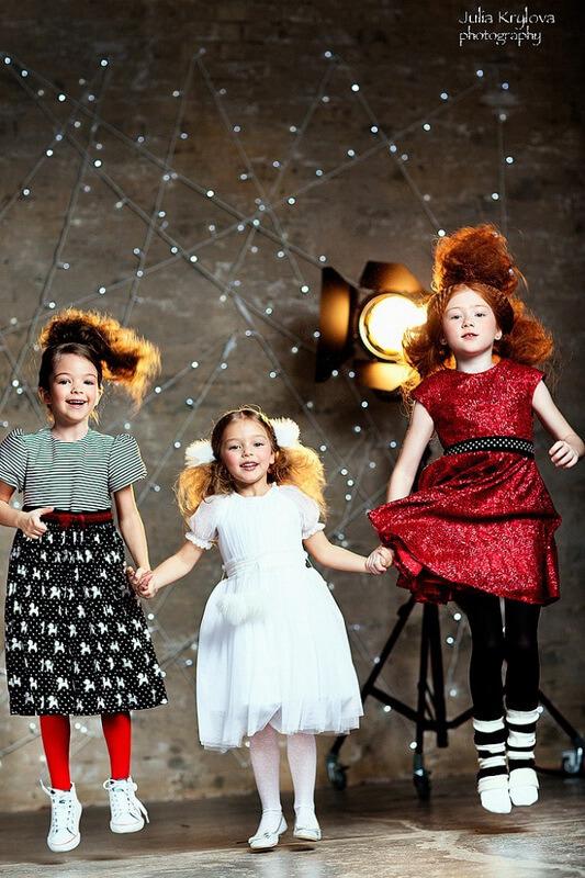 Платье детское в полоску с пуделем