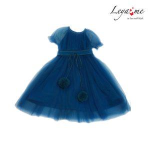 Платье на девочку из сетки бирюзового цвета с помпонами