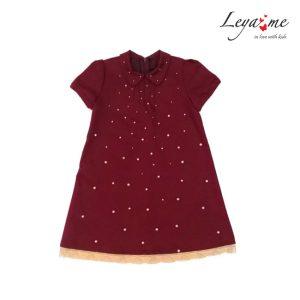Платье-трапеция детское из красной джинсы, расшитое жемчужинами