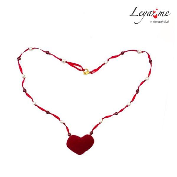 Ожерелье детское с жемчужинами и сердцем