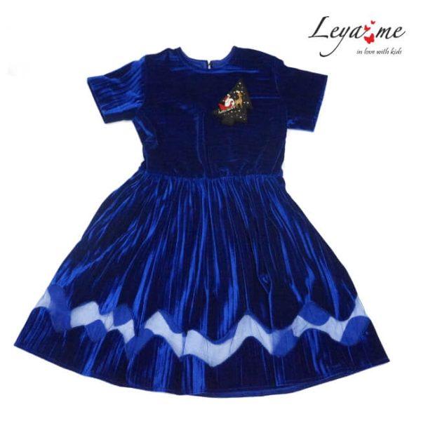 Платье детское праздничное из бархата плиссе с фигурной вставкой в комплекте брошь