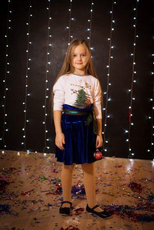 """Топ детский из трикотажа с принтом """"Мишка Тео новогодняя открытка"""""""