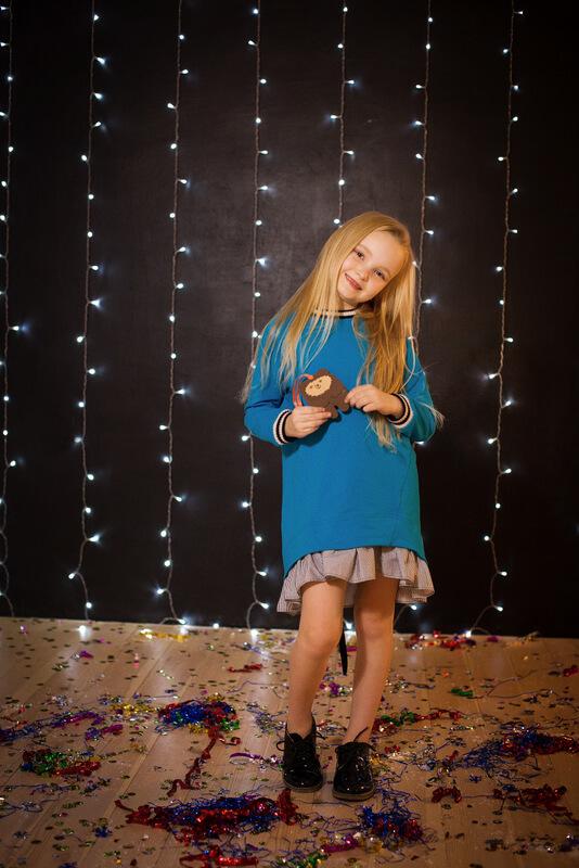 Платье-туника детское голубое со шнуровкой сзади