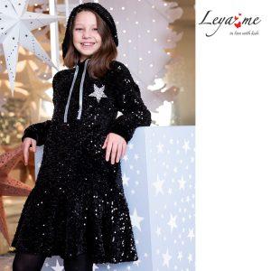 Платье-толстовка детское из бархата с пайетками